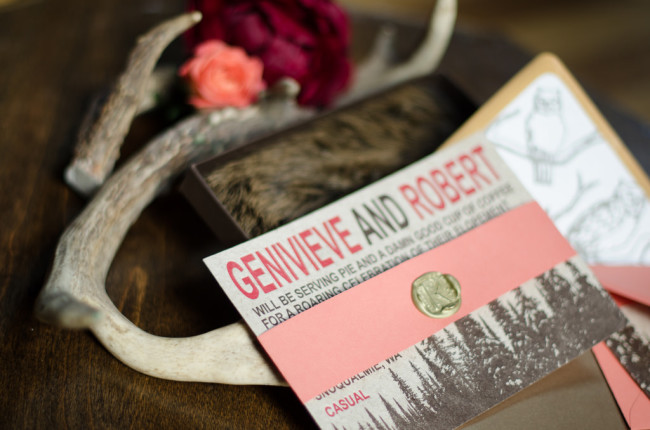 antlers and invitations for woodland couture romance styled shoot