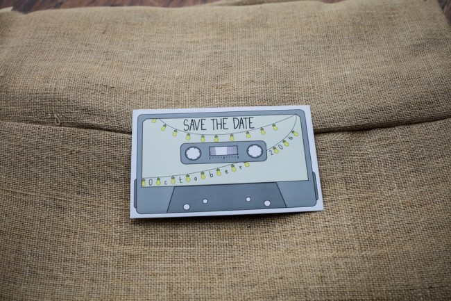 cassette tape save-the-date