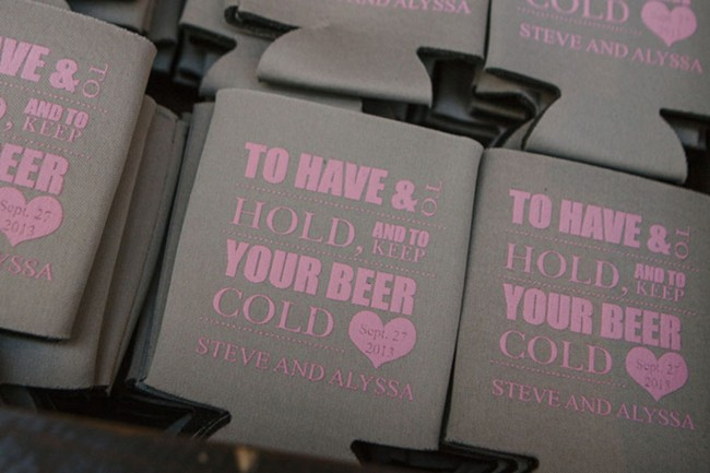 "Favors that read ""to have & to hold, and to keep your beer cold"""