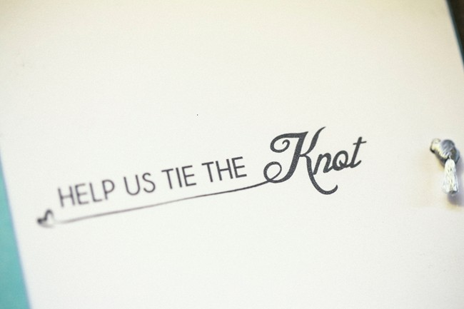 """Invitation that reads, """"Help us tie the Knot"""""""