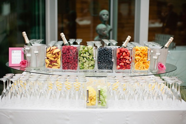 make your own fruity cocktail at wedding reception