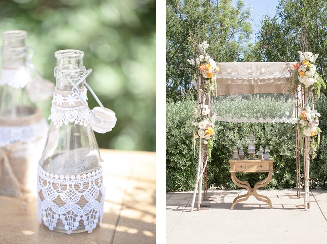 birds and bees themed wedding alter