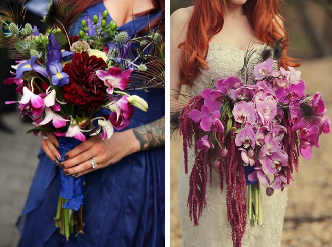 peacock theme wedding bouquet made of purple orchids