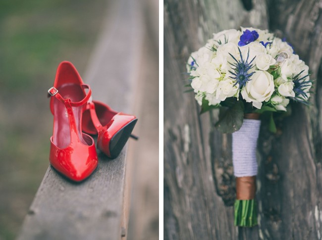 Wedding Flower bouquet and red heels