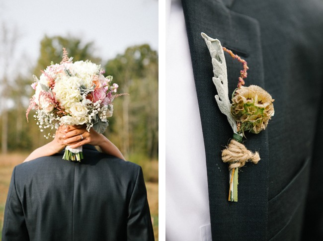 wedding bouquet and boutinere