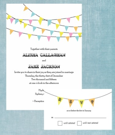 Bunting Banner Wedding Invitation Suite