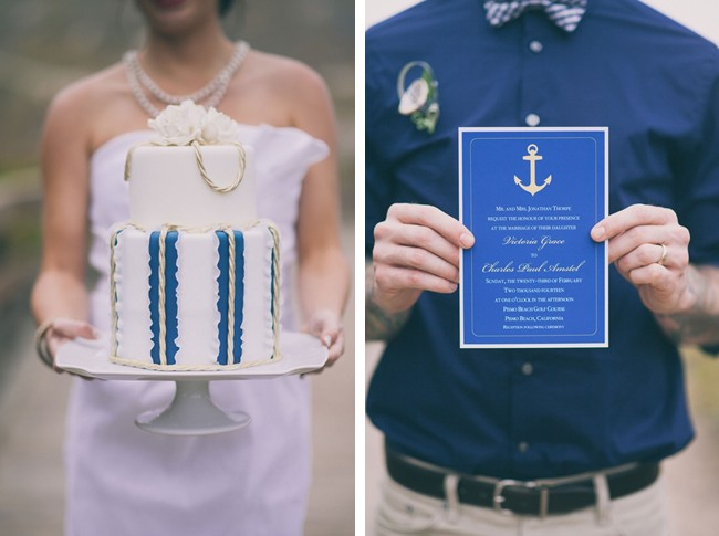 Nautical themed wedding cake and wedding invitation