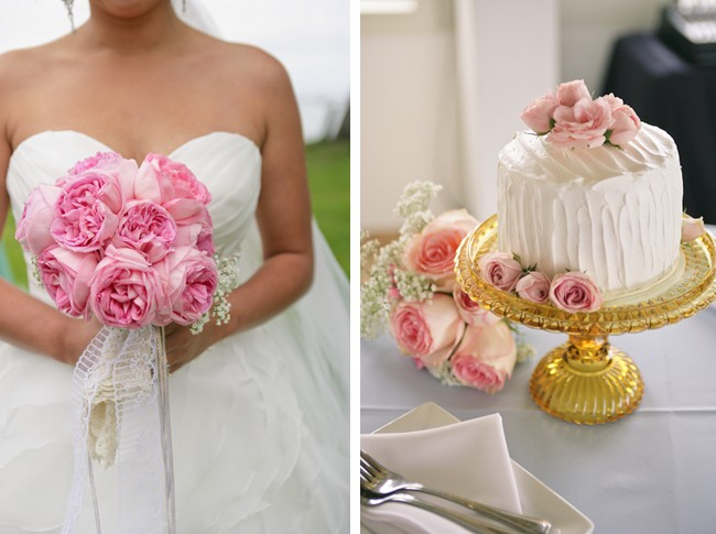 White wedding cake with pink flowers and pink bouquet
