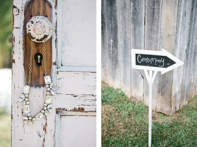 chalk board sign to ceremony, vintage door with necklace