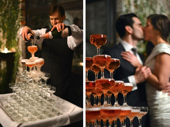 pouring rose champagne into a mountain of champagne glasses