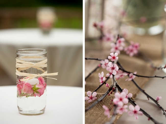 cherry blossom branch and jar of flowers