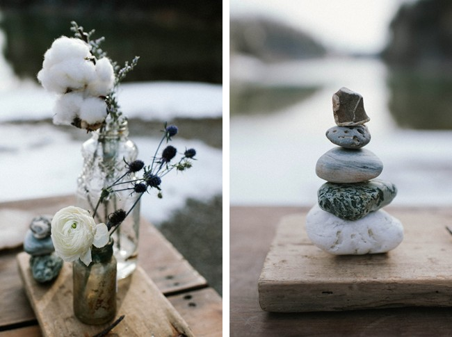 Wedding center piece decor with rocks and cotton