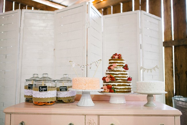 Wedding dessert table with naked cake