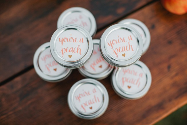 "jam favors with lids that say, ""You're a Peach"""