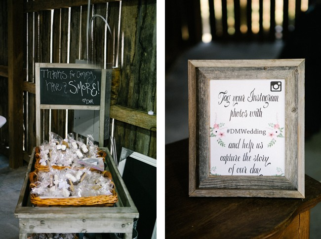 S'more wedding favors and an instagram sign