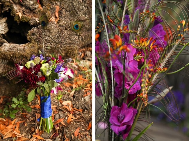 purple and orange flower bouquet with peacock feathers