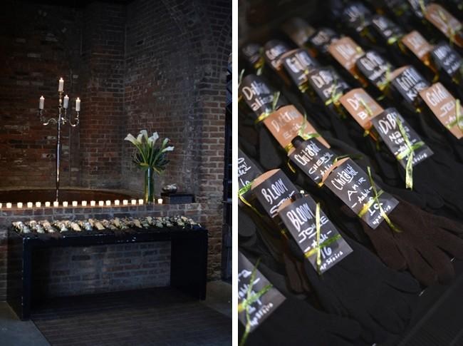 black gloves on table for wedding favors