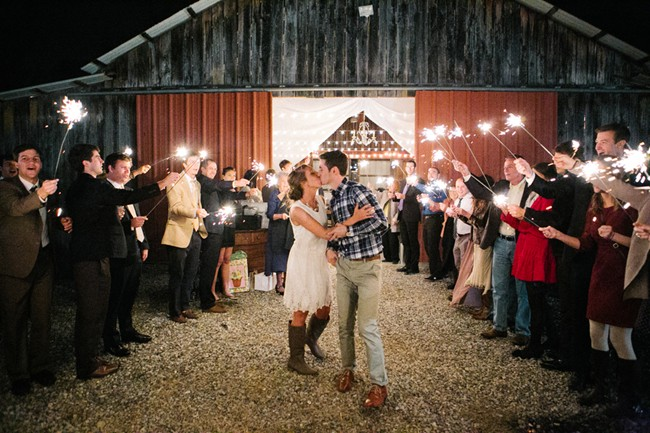 Bride and groom exiting in style with sparklers