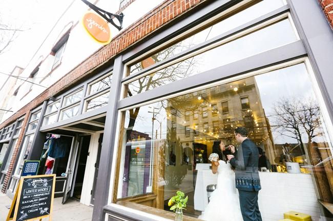 ice cream shop bride and groom