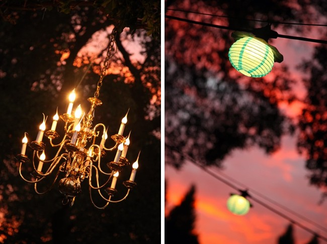 outdoor chandelier and overhead lanterns for lighting