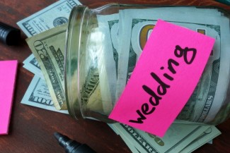 mason jar full of money for wedding savings jar