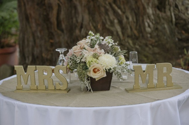 mr and mrs gold table signs on round burlap tablecloth