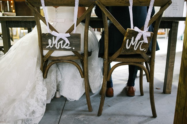 mr and mrs sign on chair