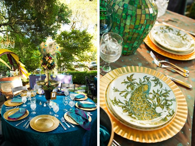 peacock place settings