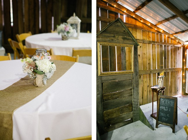photobooth and table with burlap runner