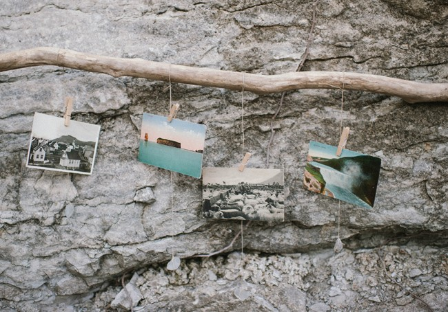 Pictures hanging from a branch