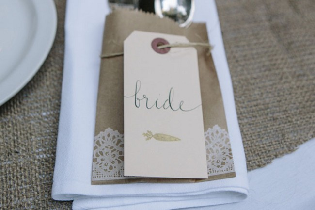 place setting with bride marker