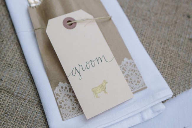 place setting with groom nametag