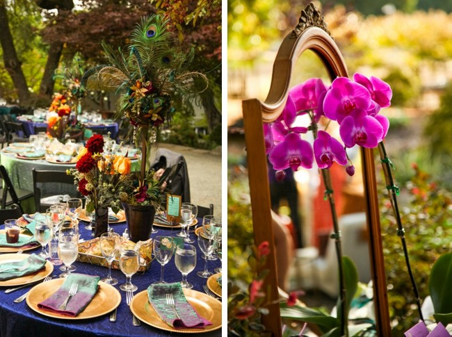 peacock feather wedding place settting and orchid flowers