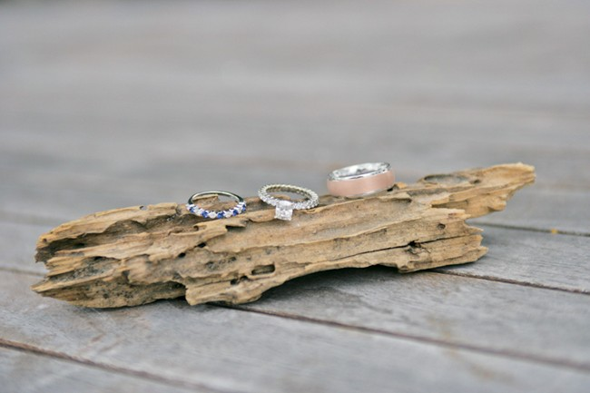 Wedding rings on drift wood