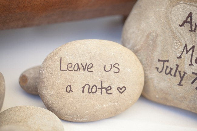 rock with note