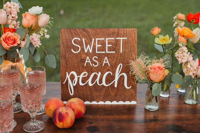sweet as a peach wood sign