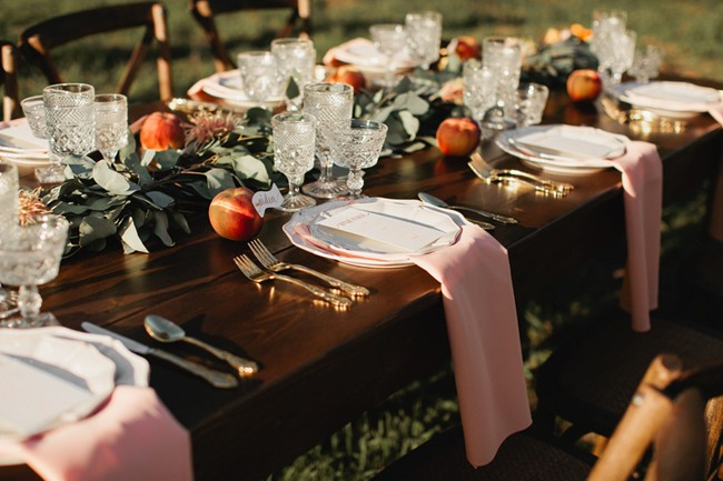 table setting with crystal glasses
