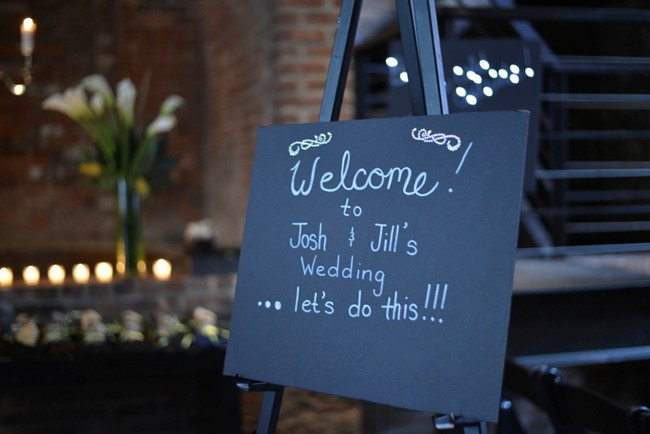 welcome sign for art deco wedding at the Foundry