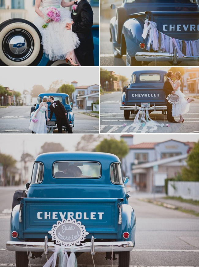 Bride and groom in front of a vintage Chevrolet blue truck