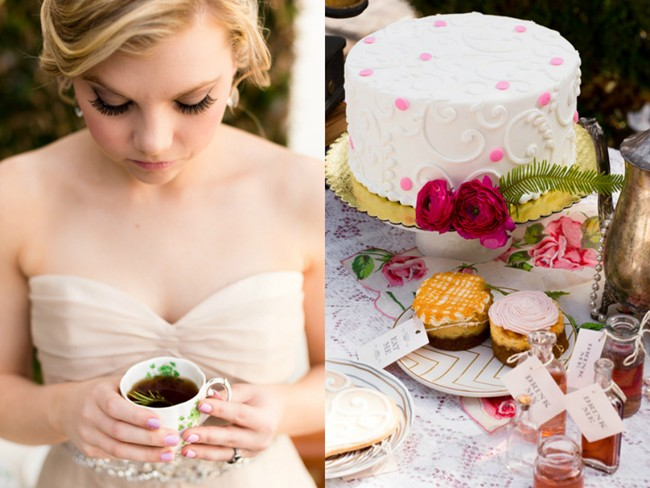 holding teacup and photo of desserts for Alice in Wonderland styled shoot