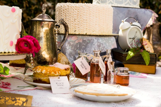 Dessert table for Alice in Wonderland styled shoot at Arlington Hall at Lee park