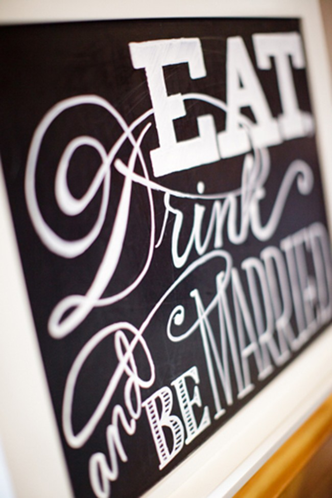 """Eat, drink and be married"" chalkboard sign in white frame"