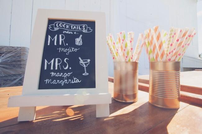 Chalk board drink menu wedding reception