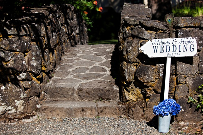 Sign pointing toward the wedding ceremony