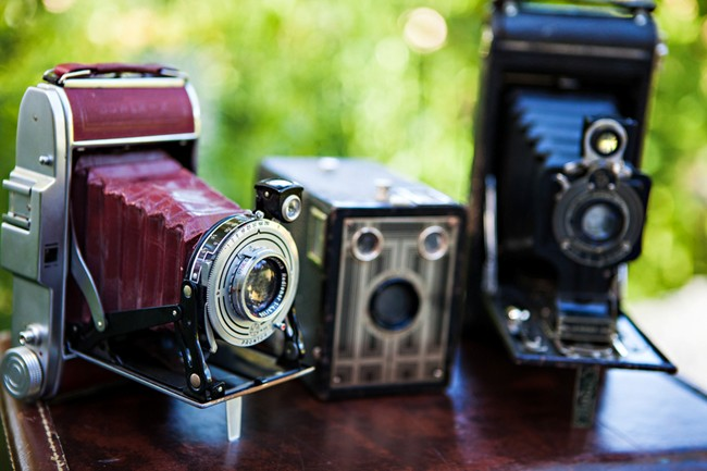 vintage cameras as wedding decor