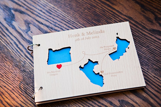 Wedding guest book with map