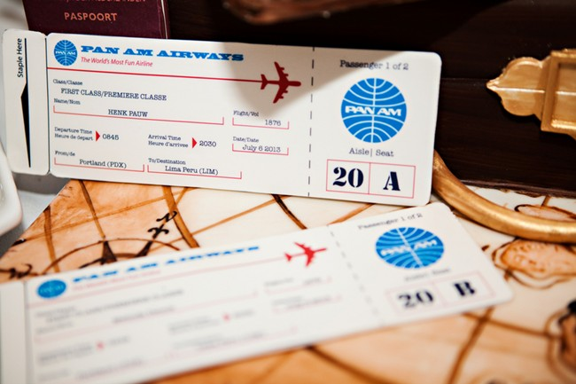 pan am air way travel tickets on a travel themed wedding cake