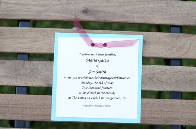 blue border wedding invitation
