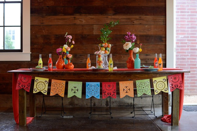 reception table with colorful center pieces