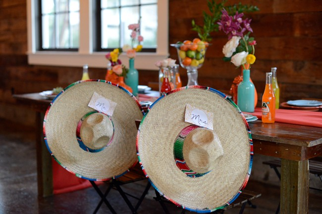 reception table with sombreros